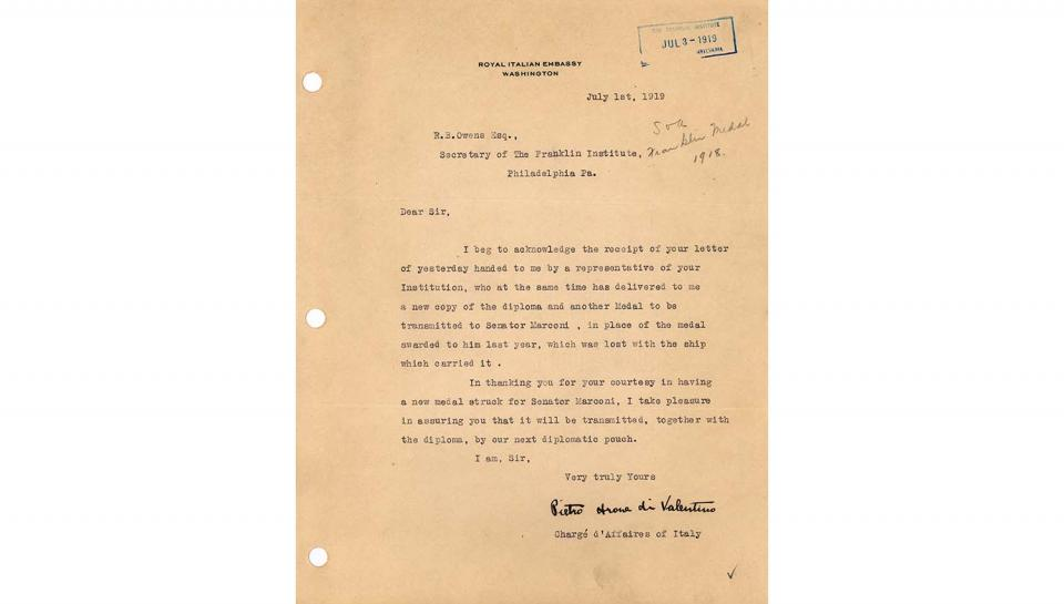 Pietro di Valentino letterto R.B. Owens, Italian Charge d'Affaires acknowledging receipt of the new medal and diploma replacing the originals lost at sea, 7/1/1919.