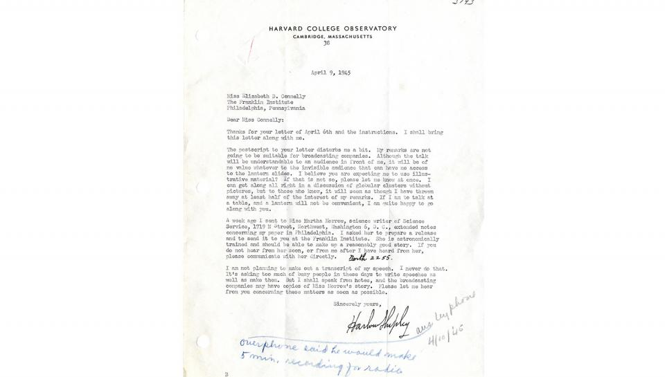 Letter from Harlow Shapley to Miss Elizabeth Connelly, Concerning remarks and presentation to be made at The Franklin Institute on Medal Day, 4/9/1945.