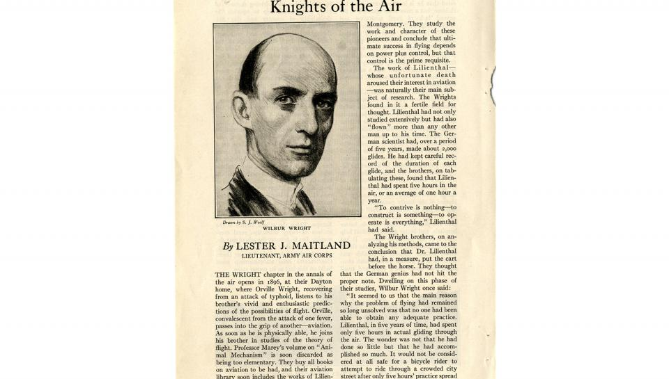 "Page 1 of 14: ""World's Work"" magazine article on the Wright brothers, September, 1928"