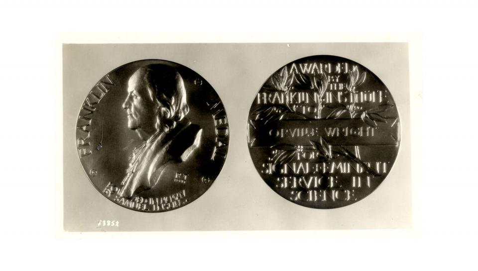 Image of The Franklin Medal awarded to Orville Wright