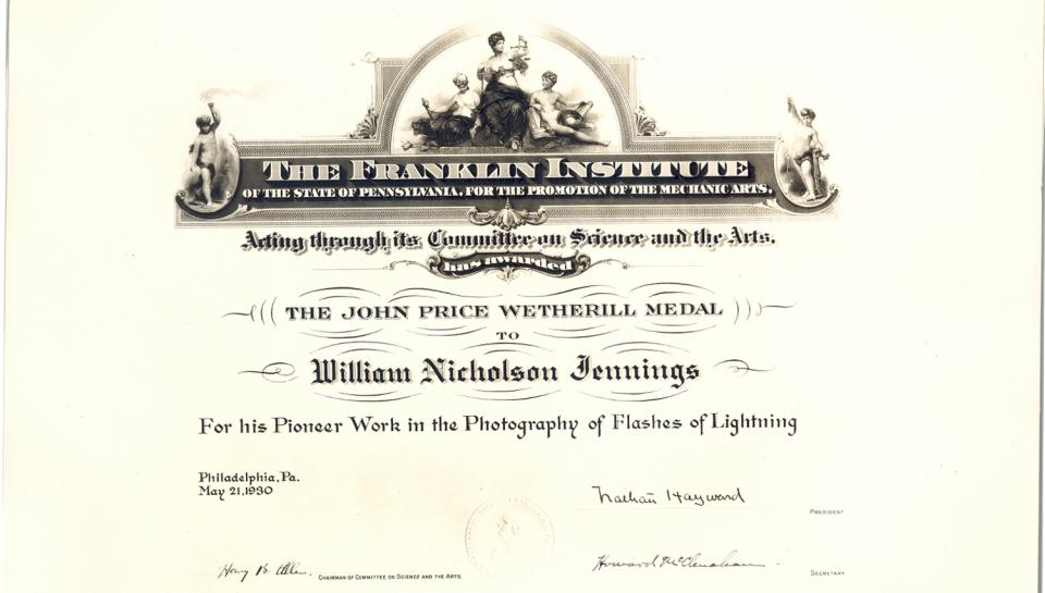 "Awards Certificate, ""For his Pioneer Work in the Photography of Flashes of Lightning,"" 5/21/1930."