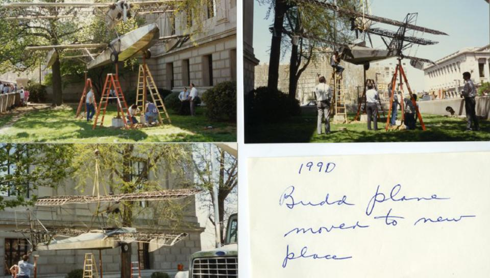 Photo collection of volunteers relocating the Budd BB-1 Aircraft from the front of The Franklin Institute