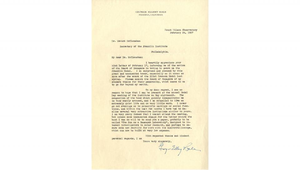Letter from George Ellery Hale to Howard McClenahan,appreciating the unexpected honor of the Franklin Medal award, 2/24/1927