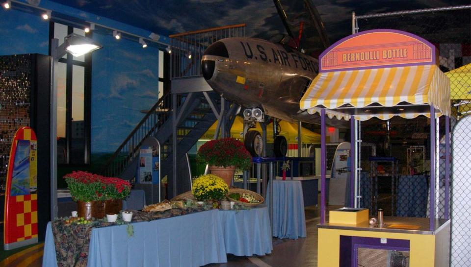 A buffet line set up in the Franklin Airshow exhibit at The Franklin Institute.