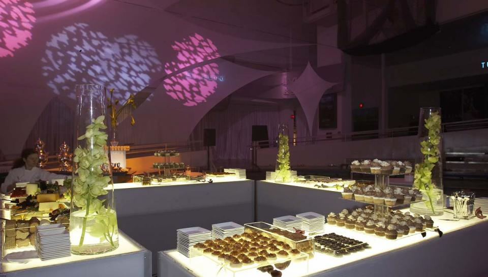 Catered food stations set up in the Atrium during an event at The Franklin Institute.