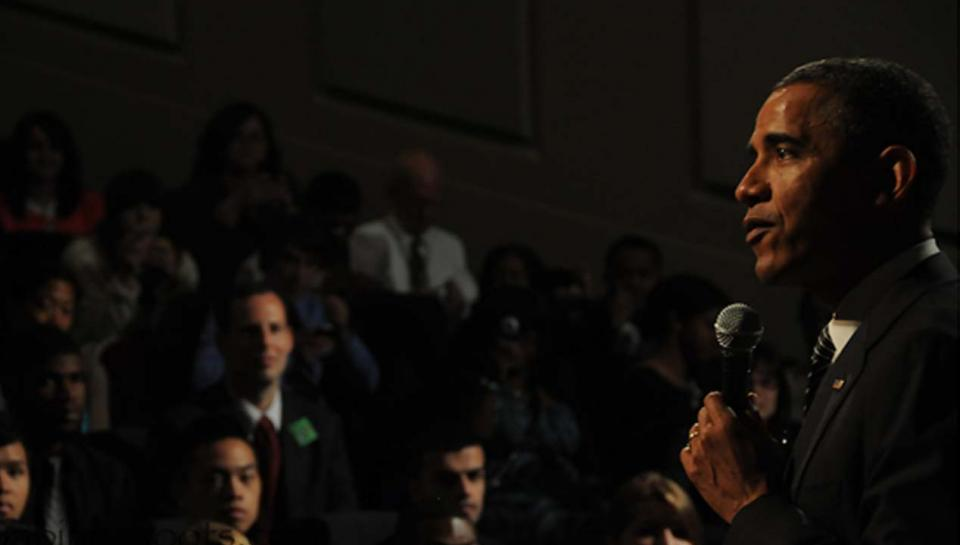President Barack Obama speaking in the Franklin Theater at The Franklin Institute.