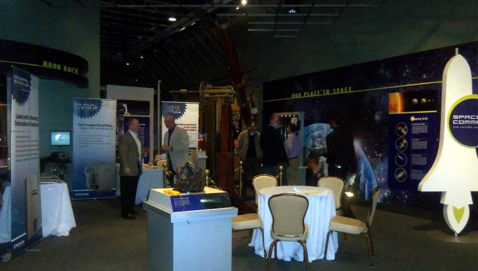 A reception being held in the Space Command exhibit at The Franklin Institute.