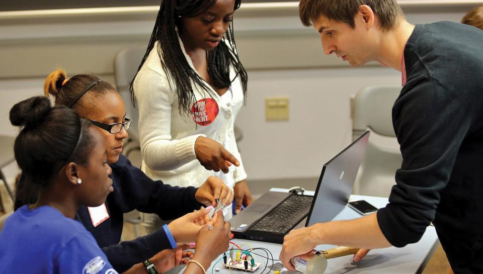 STEM Scholars students work on a project here at the Institute.
